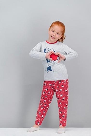 Minnie Mouse Minnie Mouse Lisanslı Karmelanj Kız Çocuk Pijama Takımı Gri